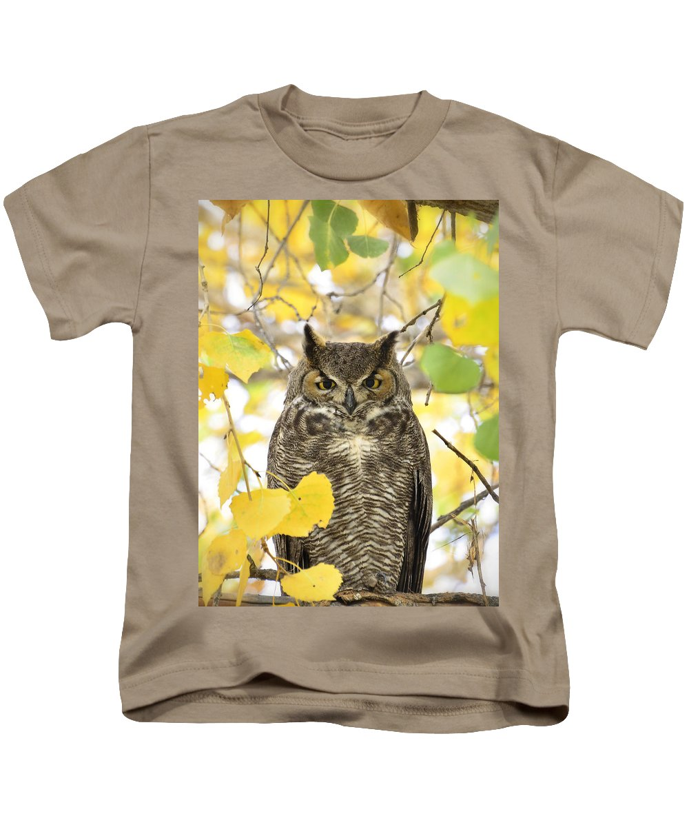 Great Horned Owl Kids T-Shirt featuring the photograph Great Horned Owl by Saija Lehtonen
