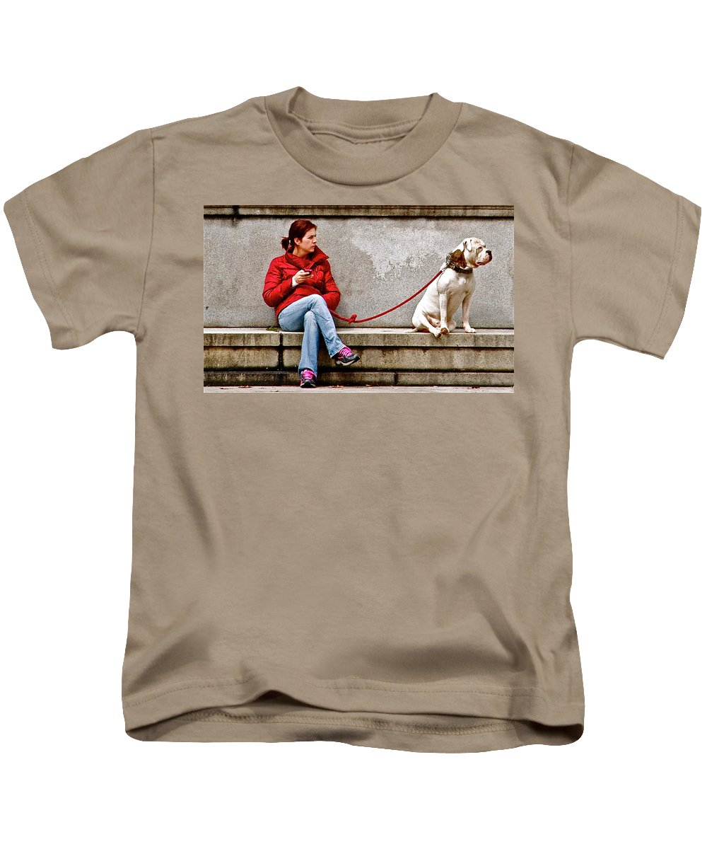Dog Bulldog Guarding Watching Waiting Lady Kids T-Shirt featuring the photograph Guarding Laura by Alice Gipson