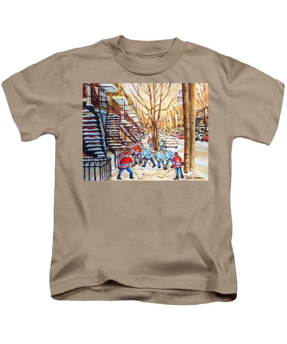 Montreal Kids T-Shirt featuring the painting Hockey Game Near Winding Staircases by Carole Spandau