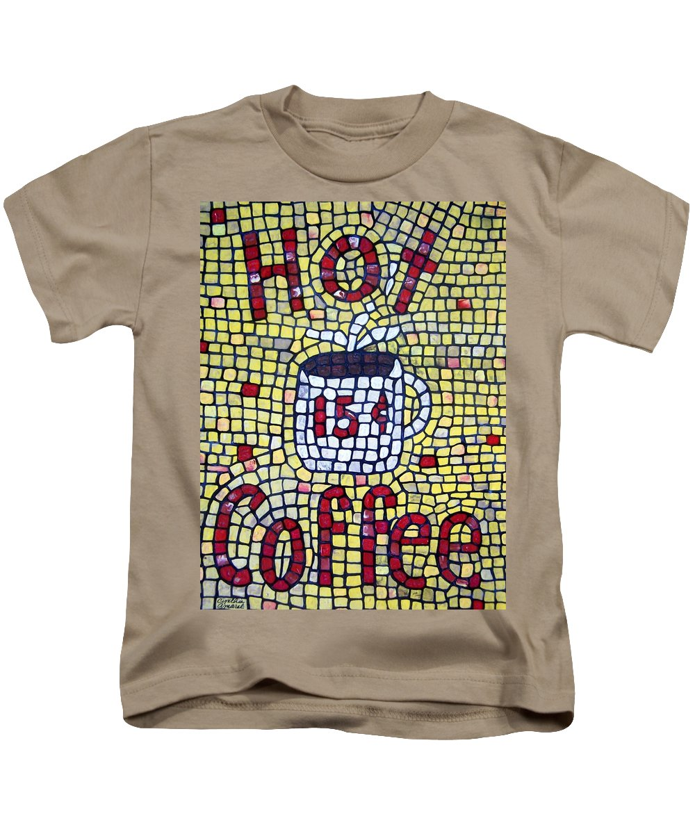 Food & Beverage Kids T-Shirt featuring the painting Hot Coffee by Cynthia Amaral
