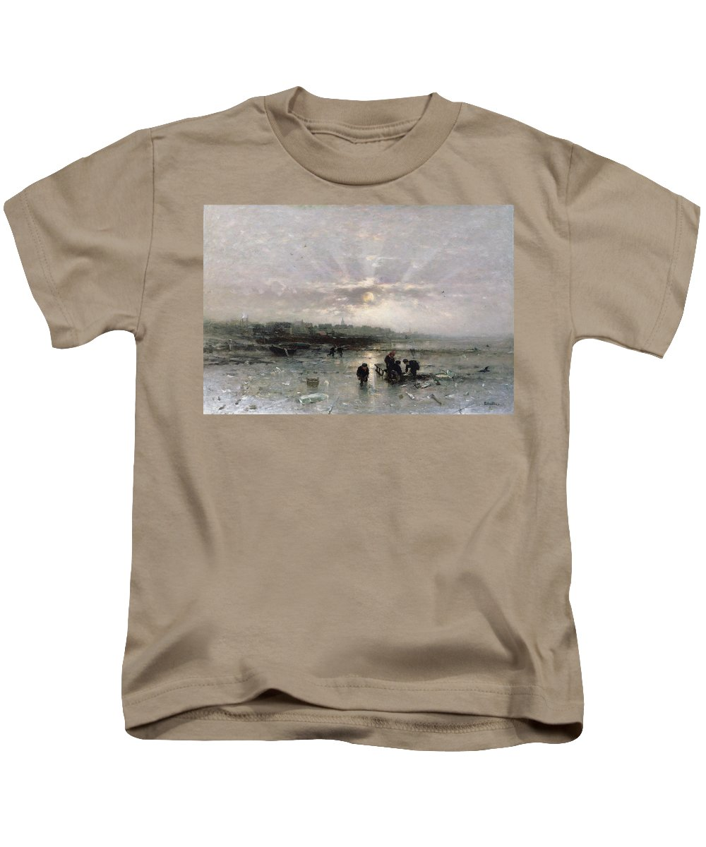 Sunrise; Urban; Cold Kids T-Shirt featuring the painting Ice Fishing by Ludwig Munthe