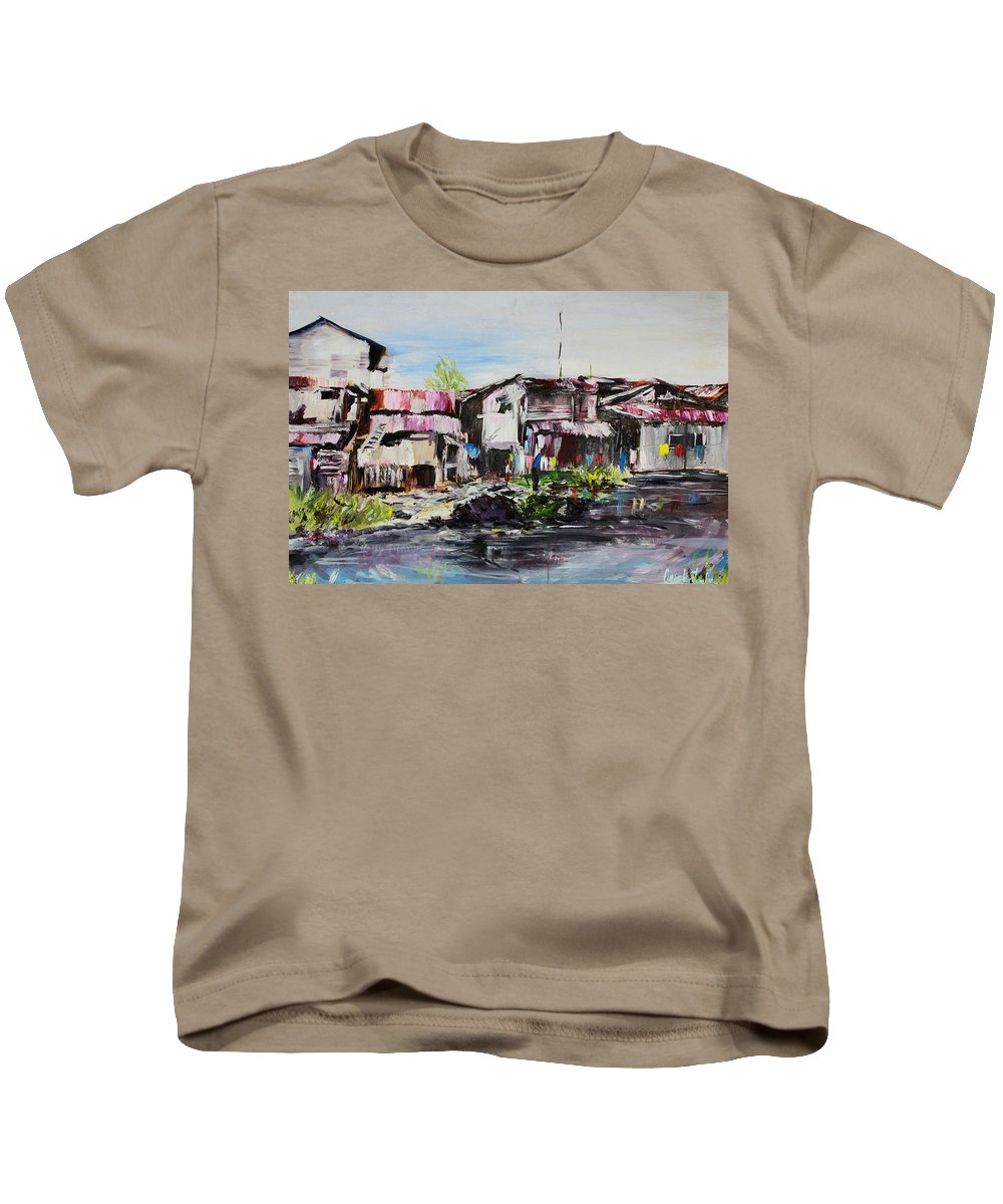 Creek Kids T-Shirt featuring the painting Ilaje by Uly Ogwah