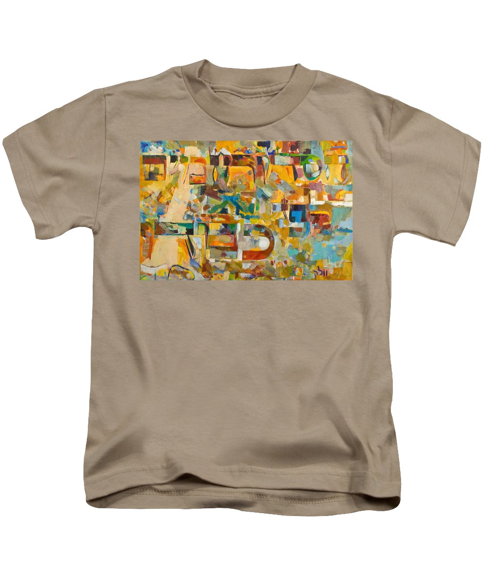 Song Kids T-Shirt featuring the painting Kindness And Mercy Are Before Hashem's Glory by David Baruch Wolk