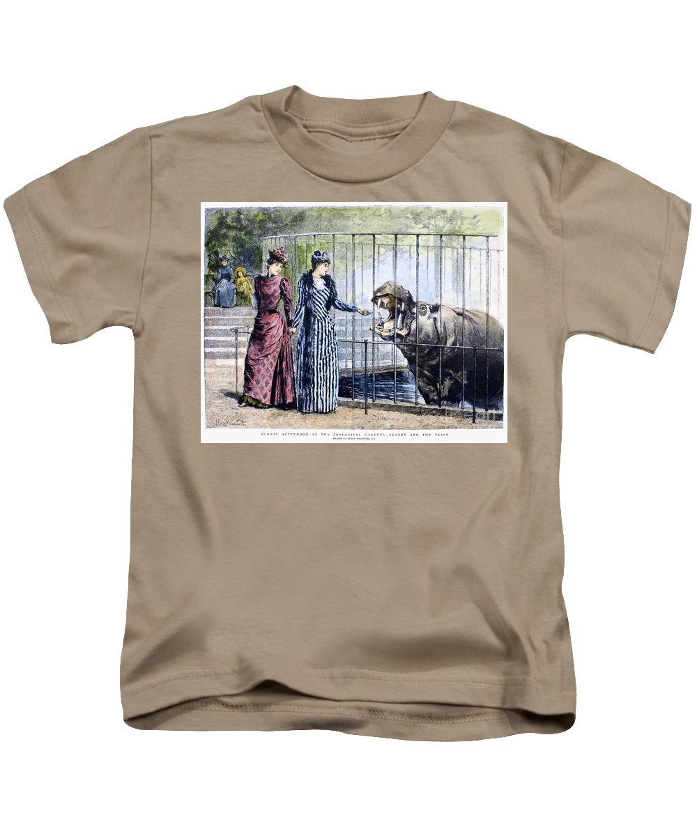 1891 Kids T-Shirt featuring the photograph London Zoo, 1891 by Granger