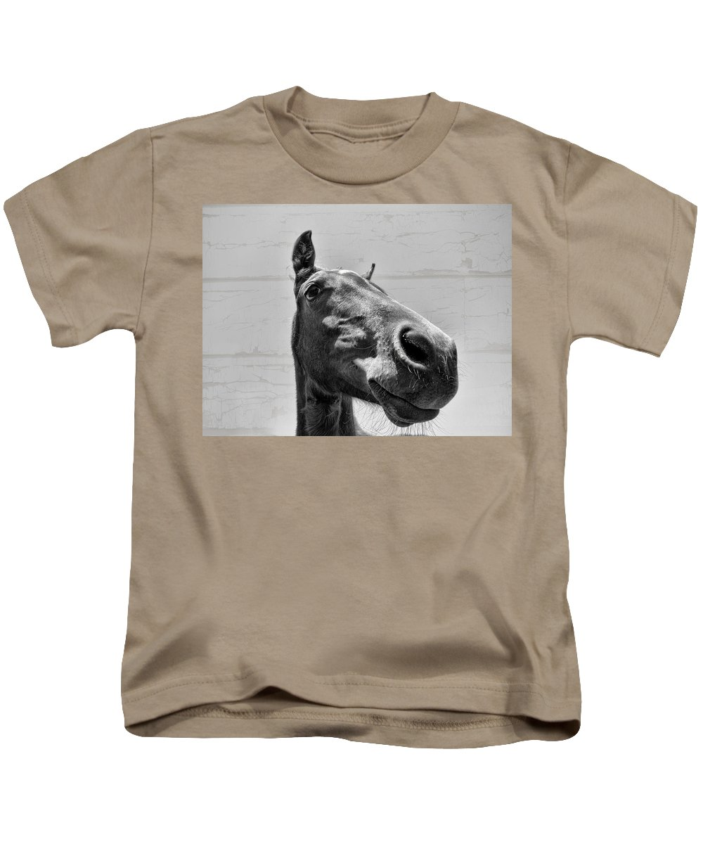 Horse Kids T-Shirt featuring the photograph Looking Down At You by Douglas Barnard