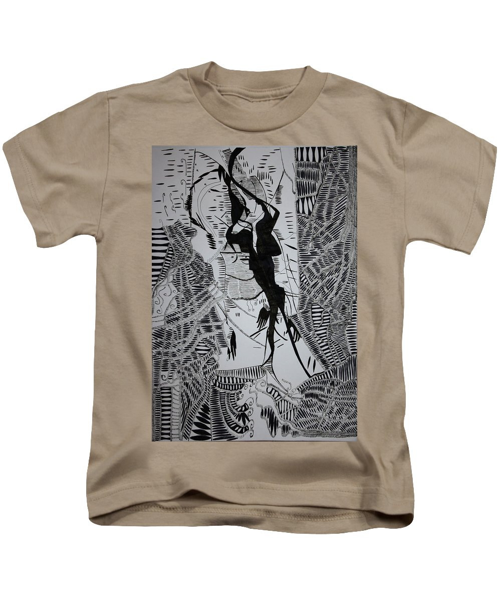 Jesus Kids T-Shirt featuring the drawing Loves Tryst by Gloria Ssali