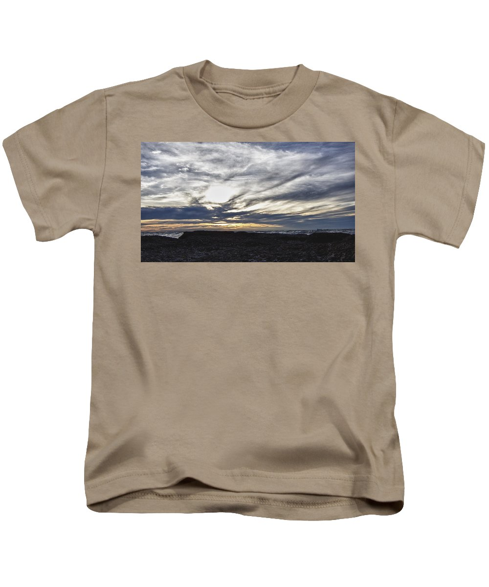Ocean Kids T-Shirt featuring the photograph Low Hanging Clouds At Sunset by Douglas Barnard