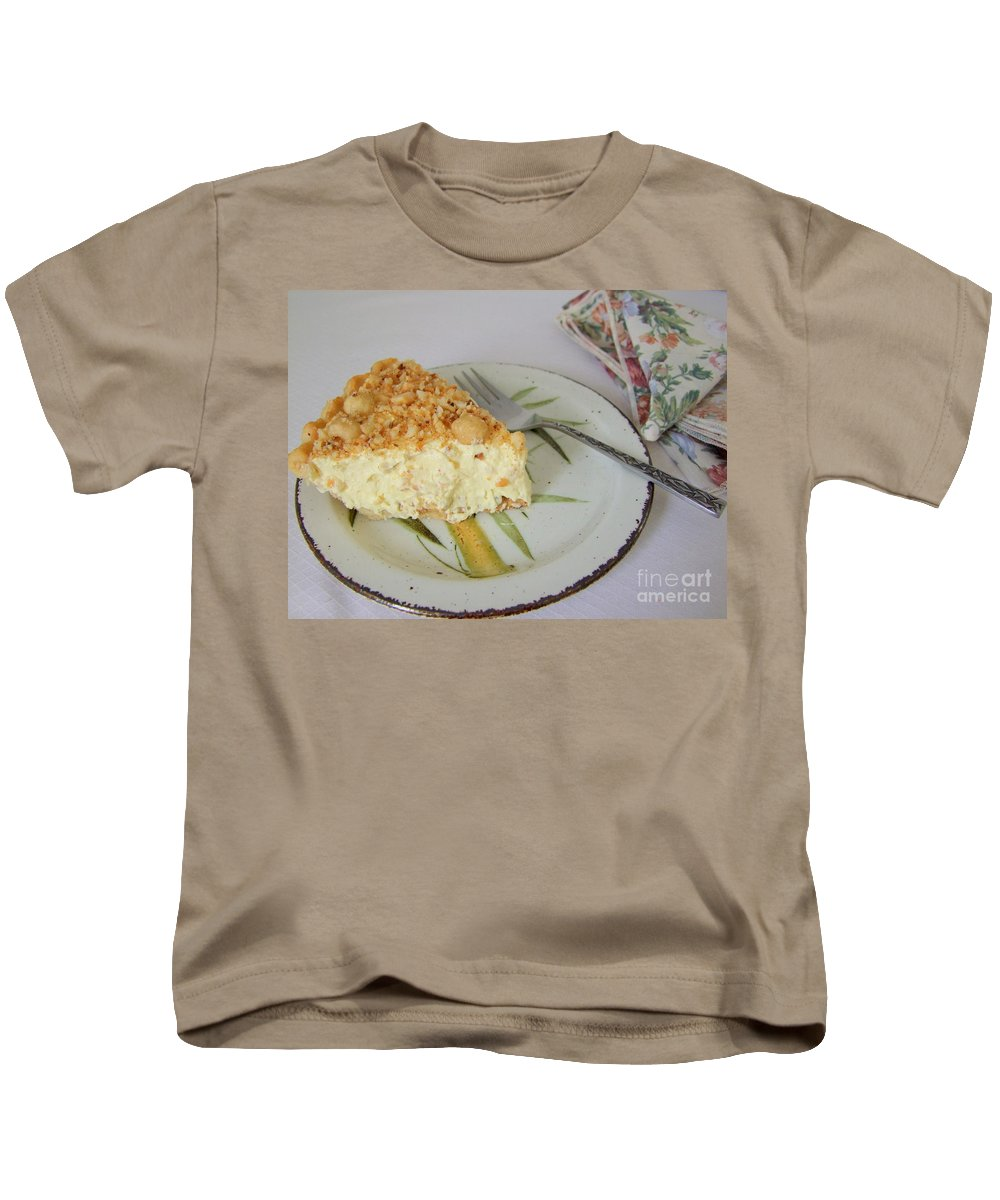 Pie Kids T-Shirt featuring the photograph Macadamia Nut Cream Pie Slice by Mary Deal