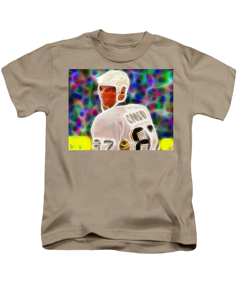 Sidney Crosby Kids T-Shirt featuring the painting Magical Sidney Crosby by Paul Van Scott