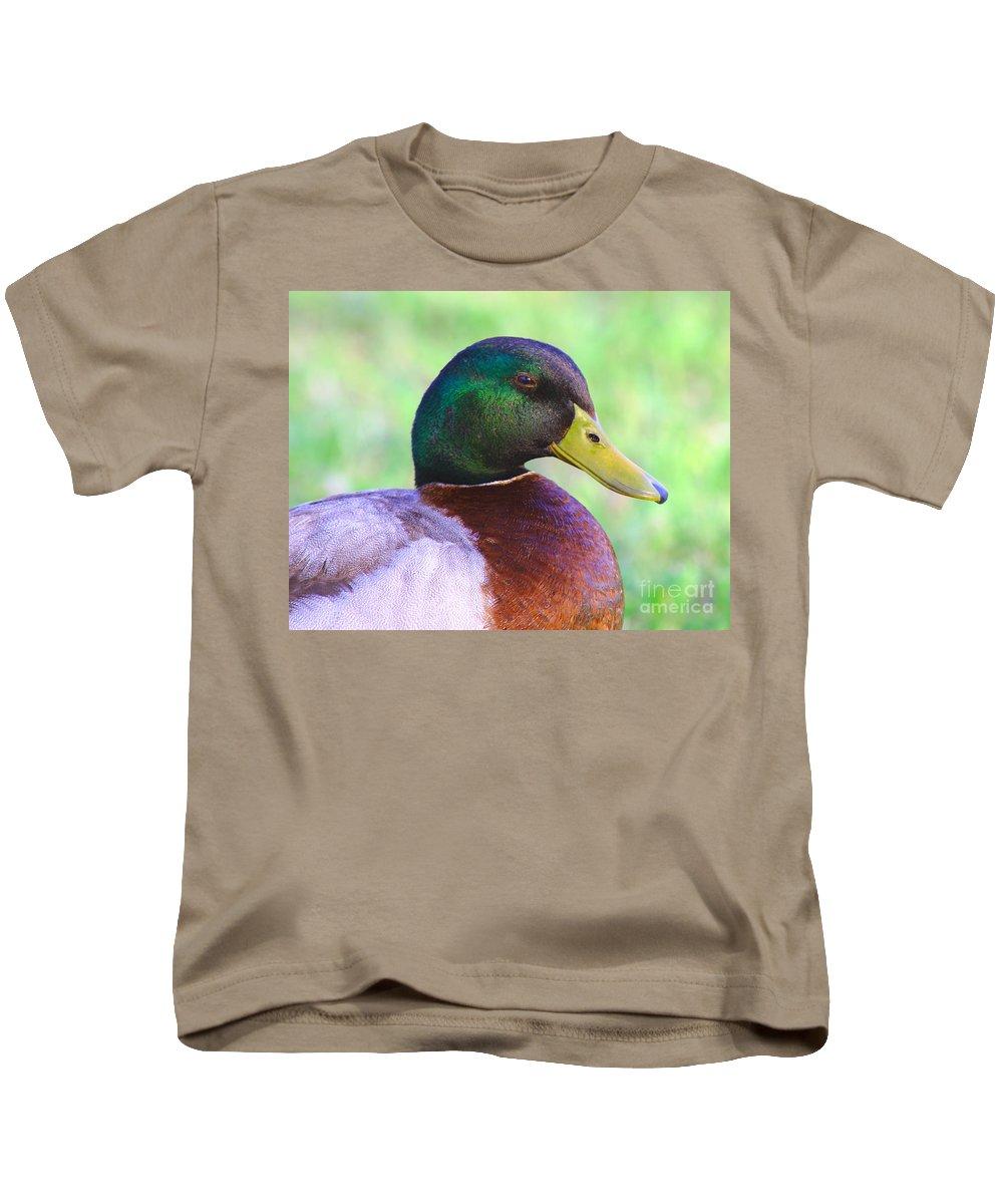 Avian Kids T-Shirt featuring the photograph Mallard Drake In Shade by Robert Frederick