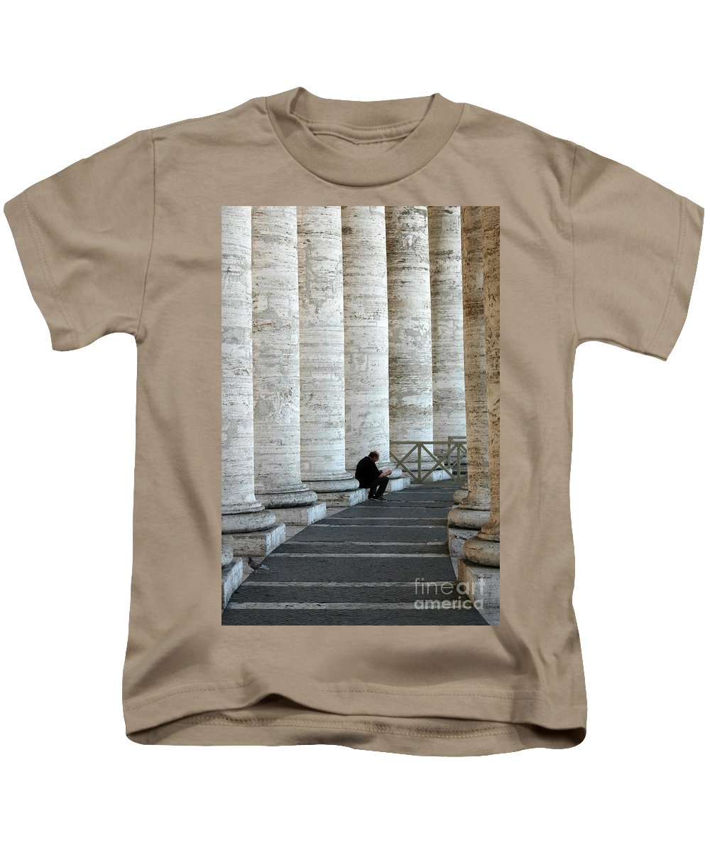 Man Kids T-Shirt featuring the photograph Man And Columns by Mike Nellums