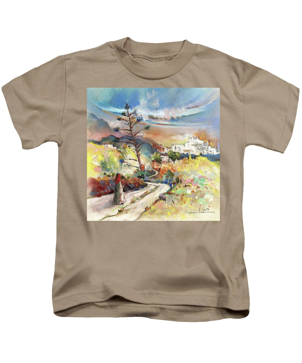 Spain Kids T-Shirt featuring the painting Mojacar In Spain 02 by Miki De Goodaboom