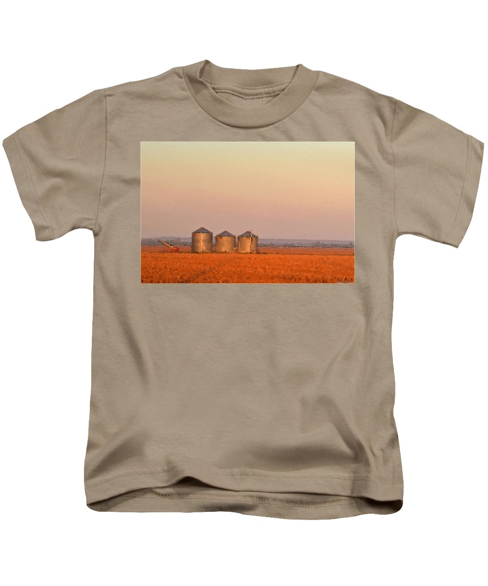 Sun Kids T-Shirt featuring the photograph Morning At The Farm Watercolor Photoart by Debbie Portwood