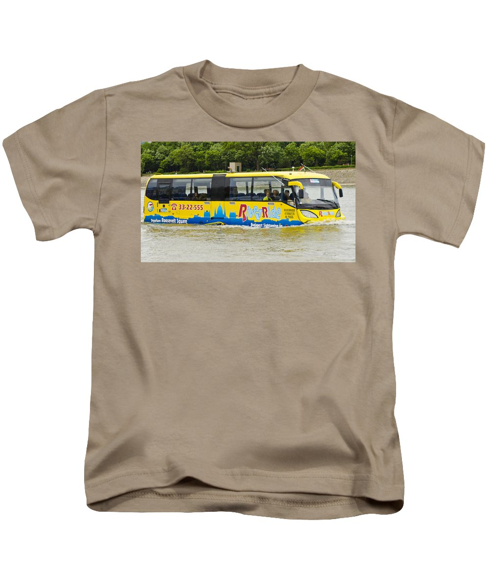 Budapest Kids T-Shirt featuring the photograph Novel River Boat by Jon Berghoff