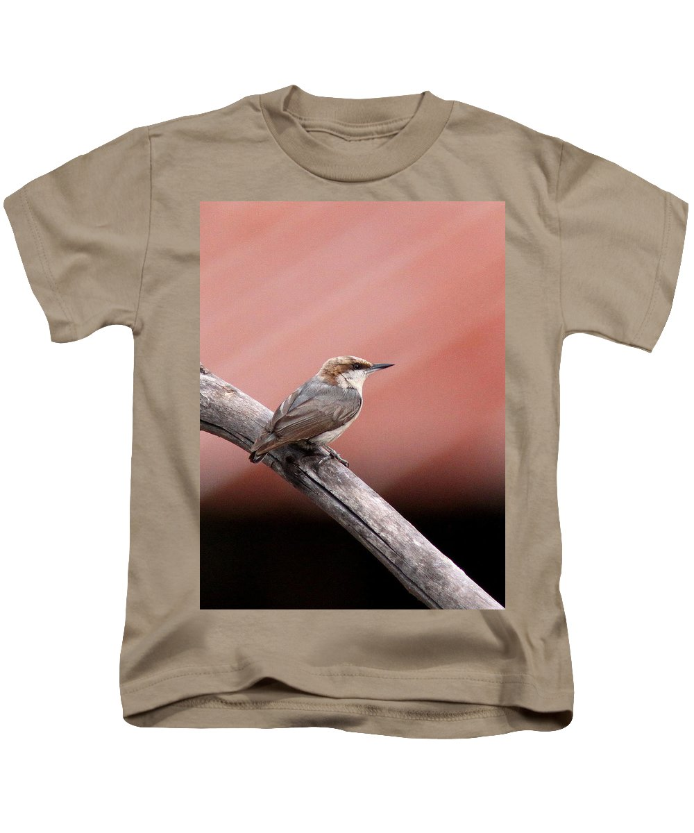 Brown-headed Nuthatch Kids T-Shirt featuring the photograph Nuthatch - Bird - Barn Roof by Travis Truelove