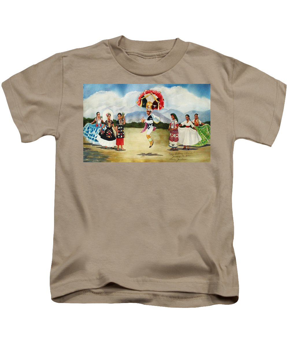 Mexico Kids T-Shirt featuring the painting Oaxaca Dancers by Marilyn Jacobson