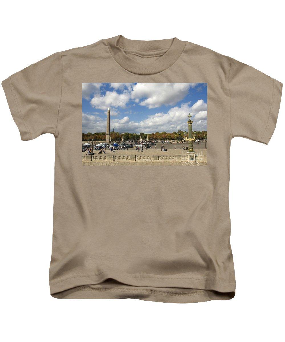 Paris Kids T-Shirt featuring the photograph Obelisque Place De La Concorde. Paris. France by Bernard Jaubert