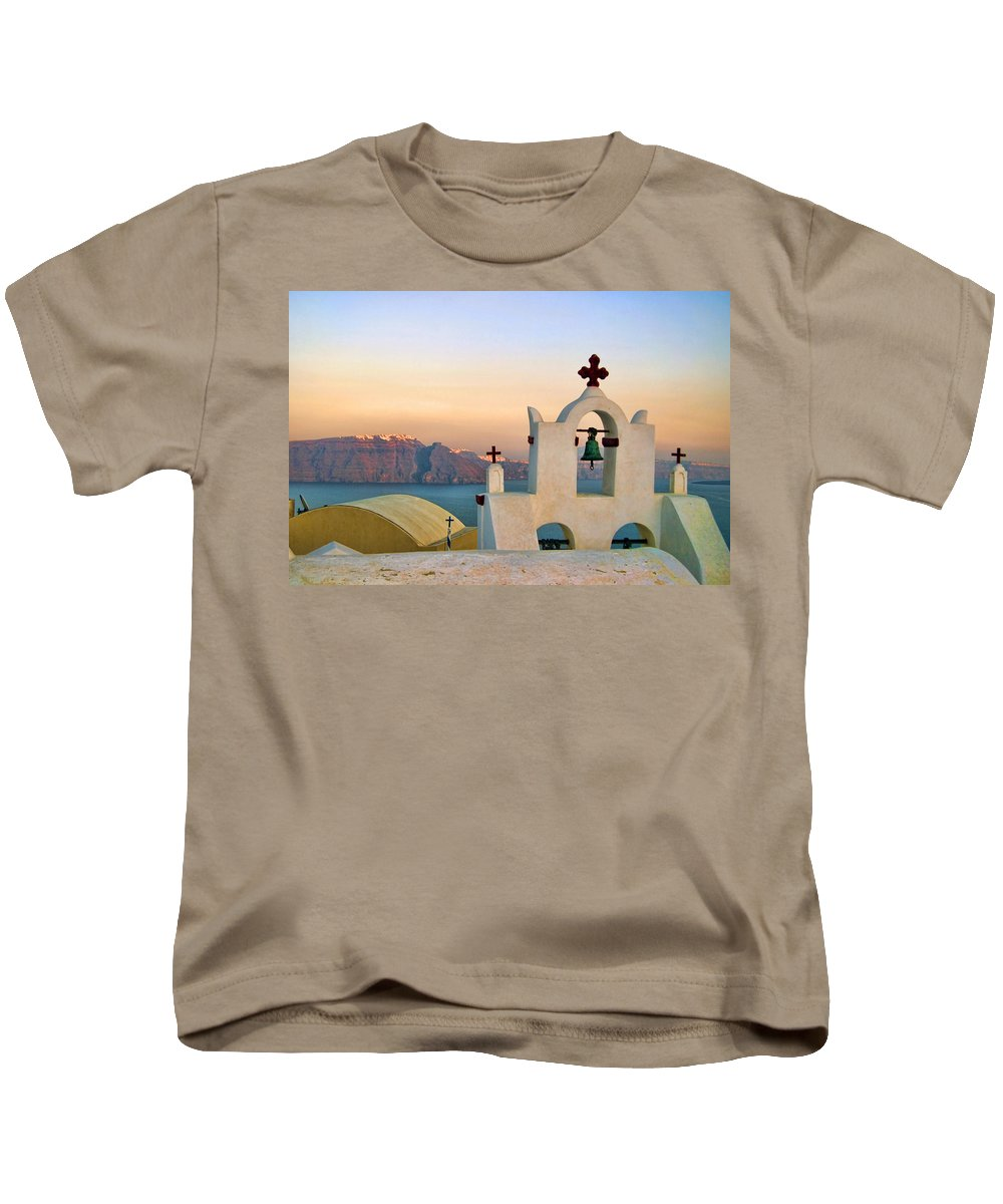 Blue Kids T-Shirt featuring the photograph Oia In Santorini by David Smith