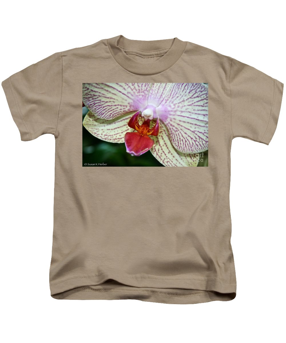 Tropical Plant Kids T-Shirt featuring the photograph Orchid Close Up by Susan Herber