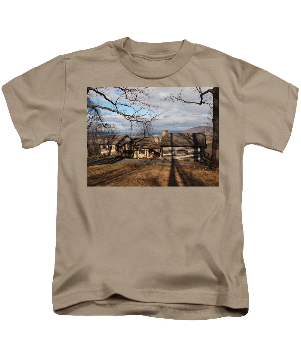 Farm Photographs Kids T-Shirt featuring the photograph Papa Toms Cabin In The Woods by Robert Margetts