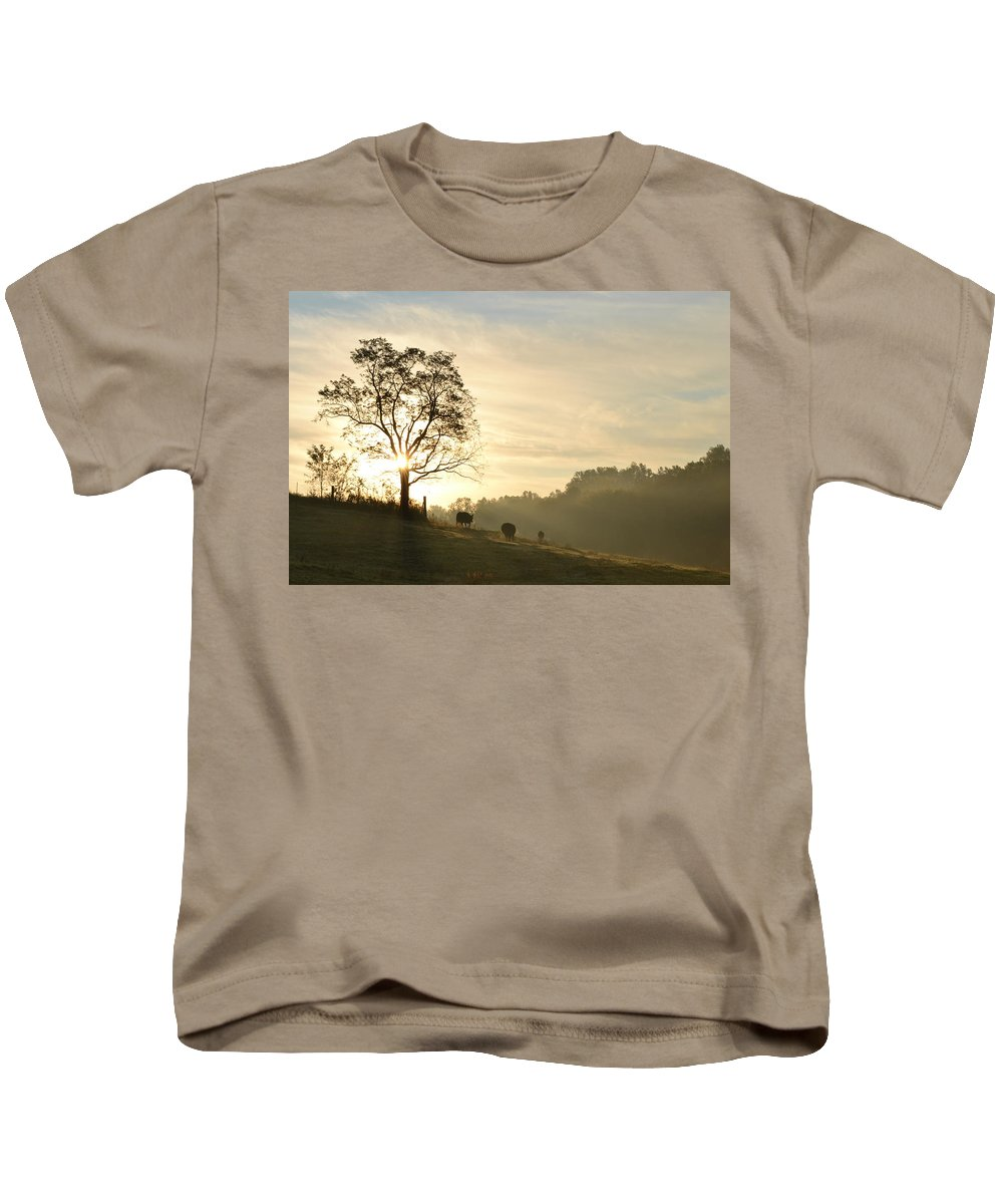 Sunrise Kids T-Shirt featuring the photograph Pasture Sunrise by JD Grimes