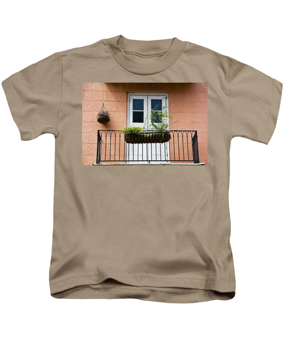 Architecture Kids T-Shirt featuring the photograph Peach Balcony by Ray Laskowitz