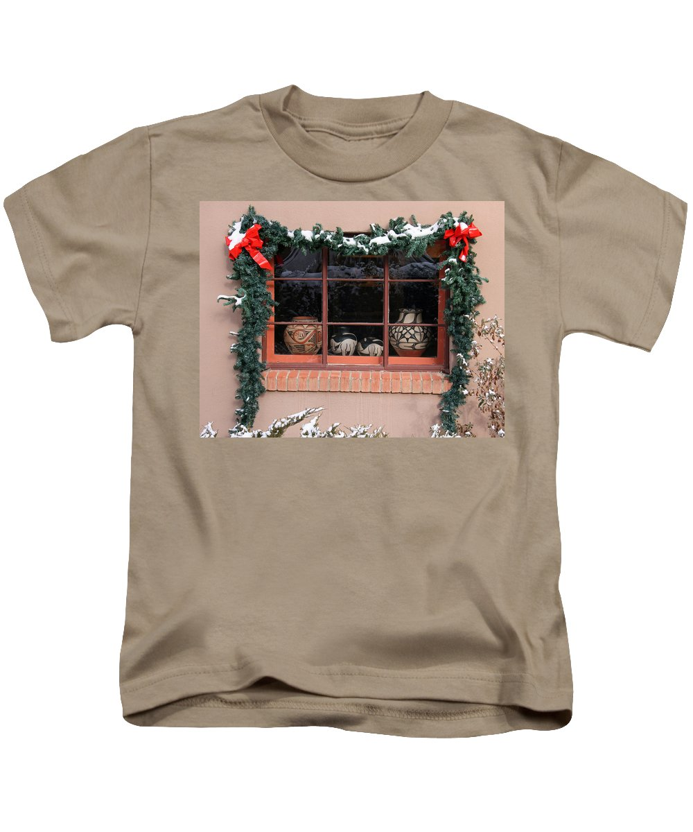 Canyon Road Kids T-Shirt featuring the photograph Pueblo Pottery Winter Window by Elizabeth Rose