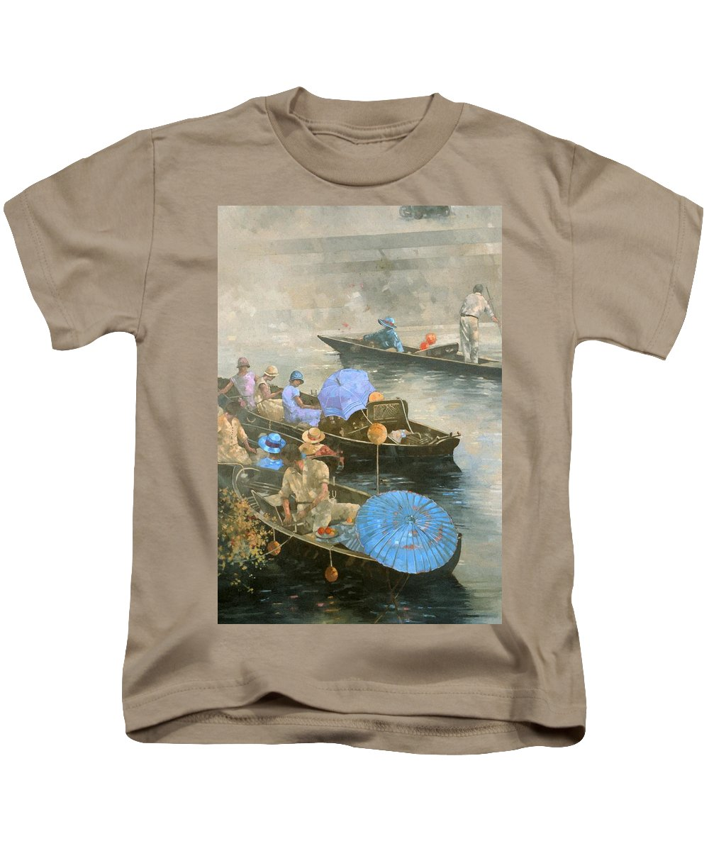 River; Boats; Boat; Boating; Leisure; Day Trip; Parasols; Punt; Punting; Umbrella Kids T-Shirt featuring the painting Punts On The Wey At Brooklands by Peter Miller