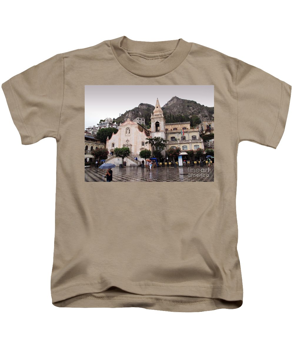 Rain Kids T-Shirt featuring the photograph Rainy Day In Taormina by Madeline Ellis