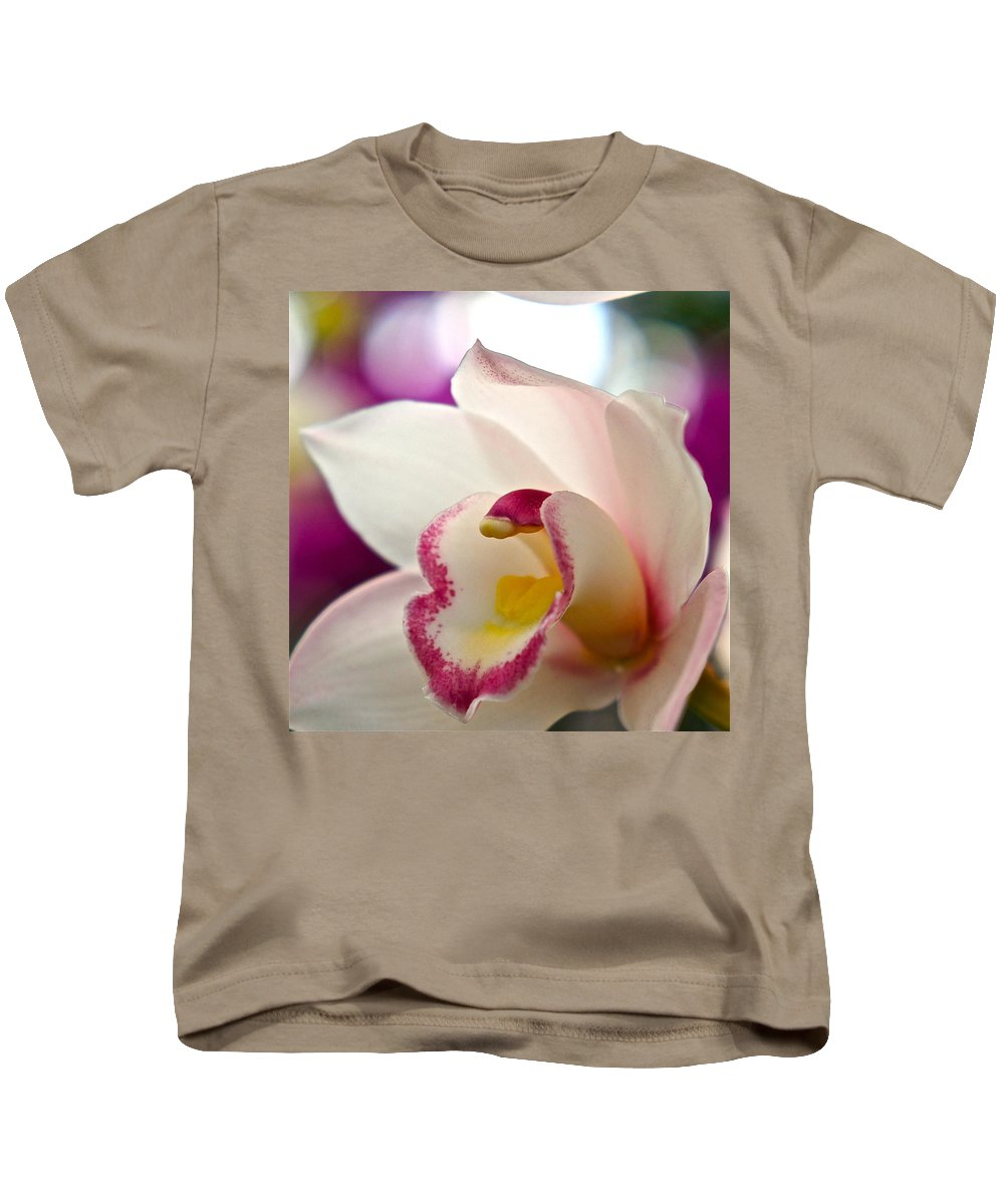 Orchid Macro Kids T-Shirt featuring the photograph Ready And Willing by Byron Varvarigos