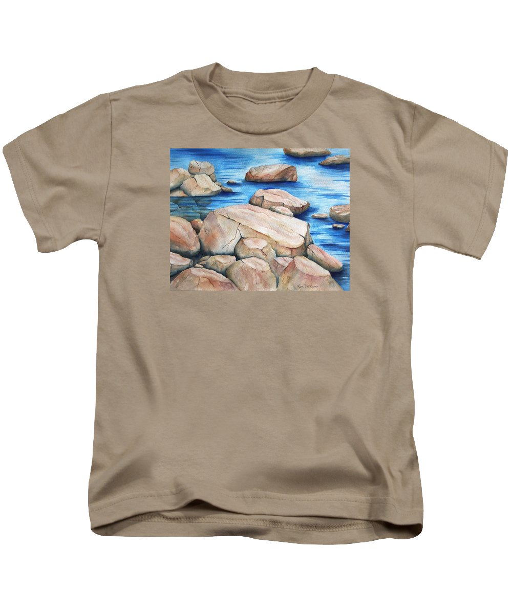 Rocks Kids T-Shirt featuring the painting River Rocks by Lyn DeLano