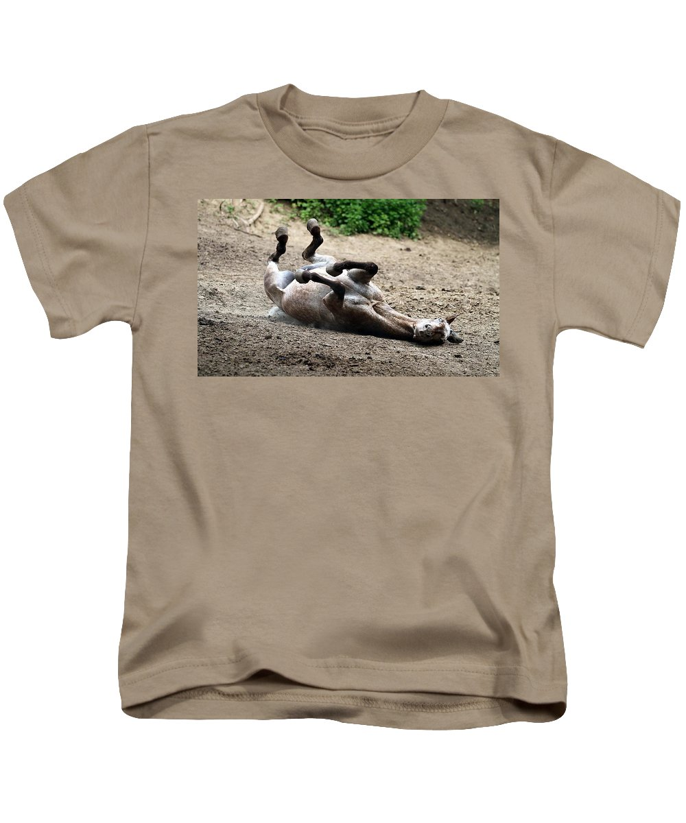 Horse Kids T-Shirt featuring the photograph Rollin In The Dirt by Elizabeth Winter