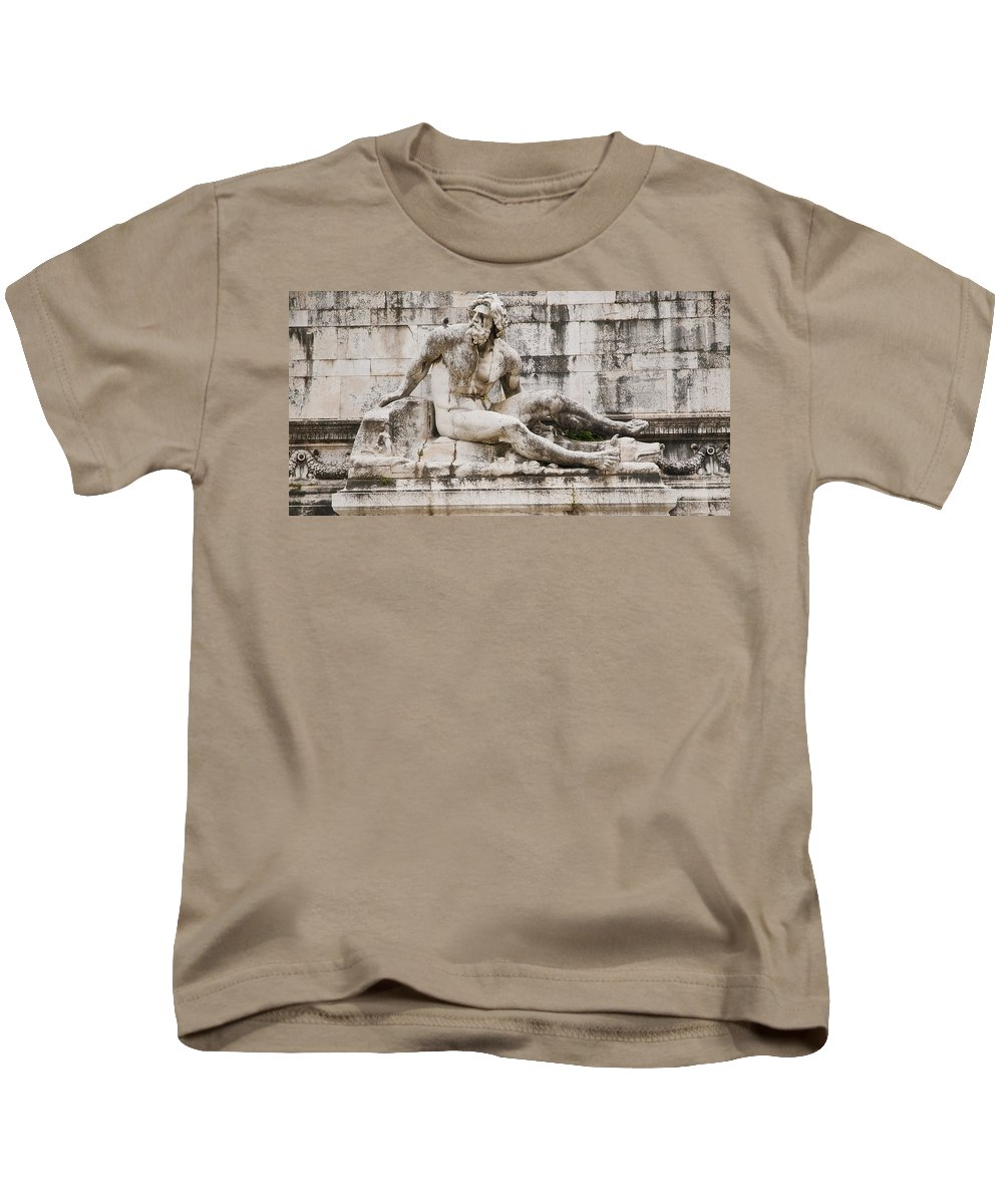 Rome Kids T-Shirt featuring the photograph Roman Statue With Pigeon And Wildflowers by Beth Riser