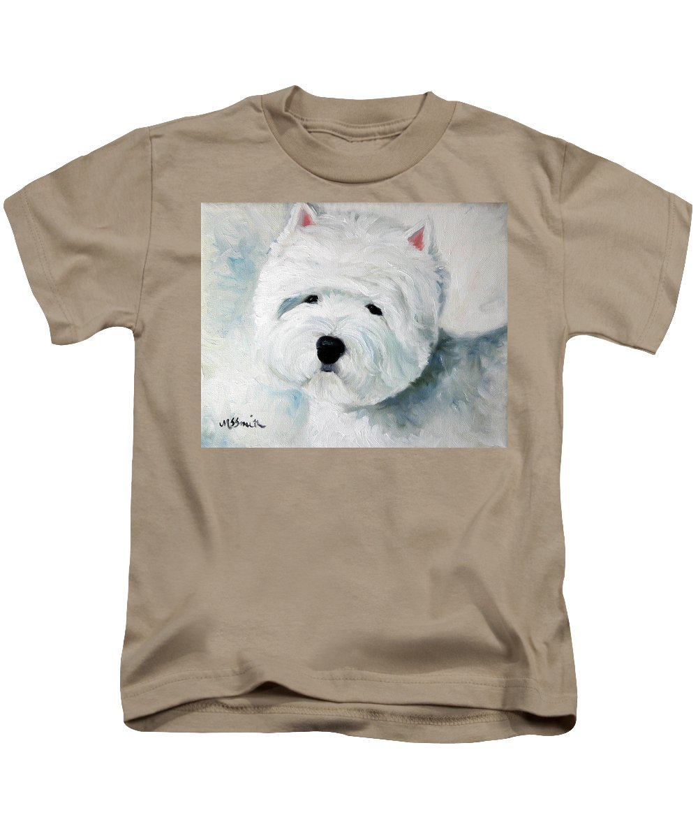 Art Kids T-Shirt featuring the painting Show Dog by Mary Sparrow