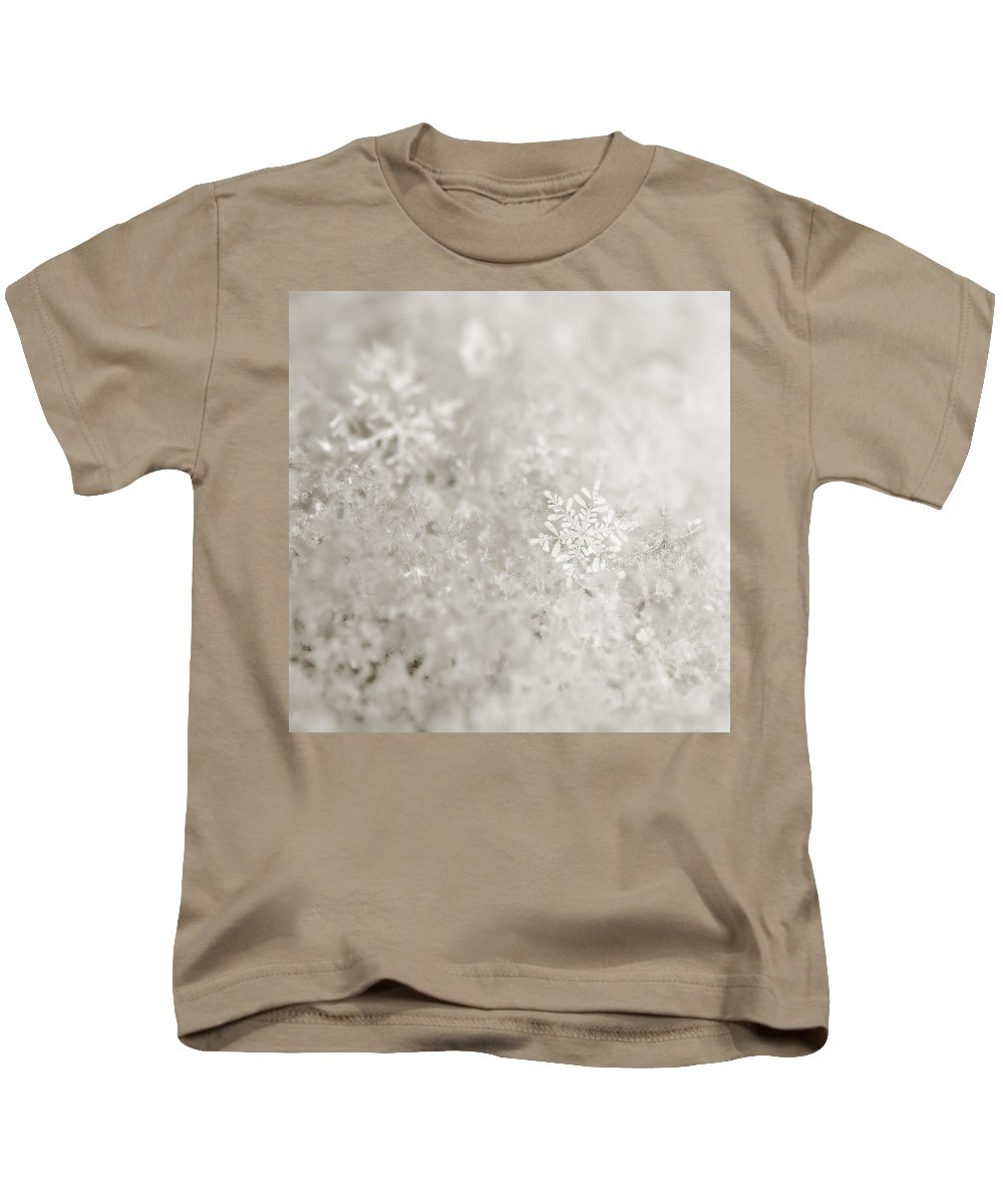Christmas Kids T-Shirt featuring the photograph Snowflake In White by Beth Riser