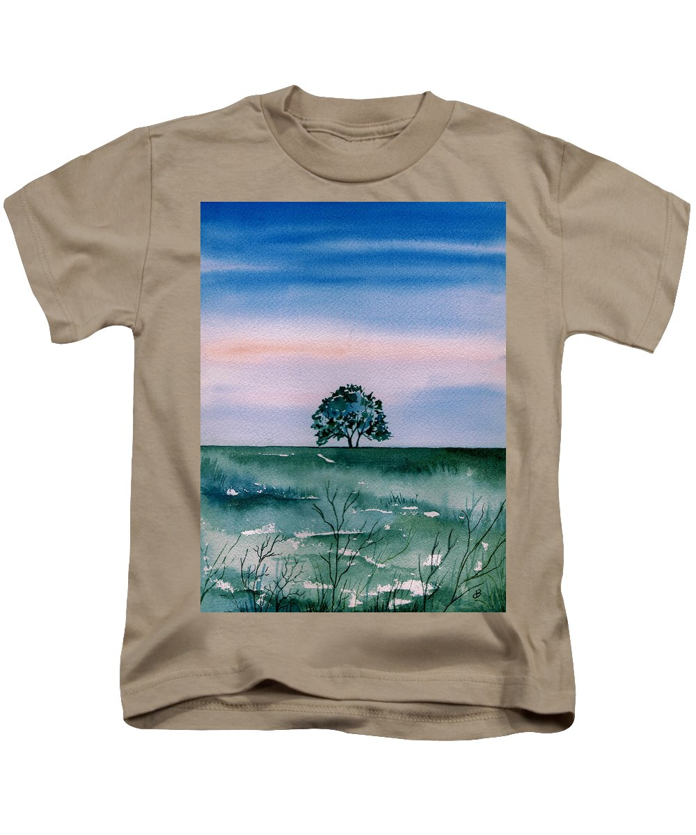 Watercolor Kids T-Shirt featuring the painting Solo by Brenda Owen