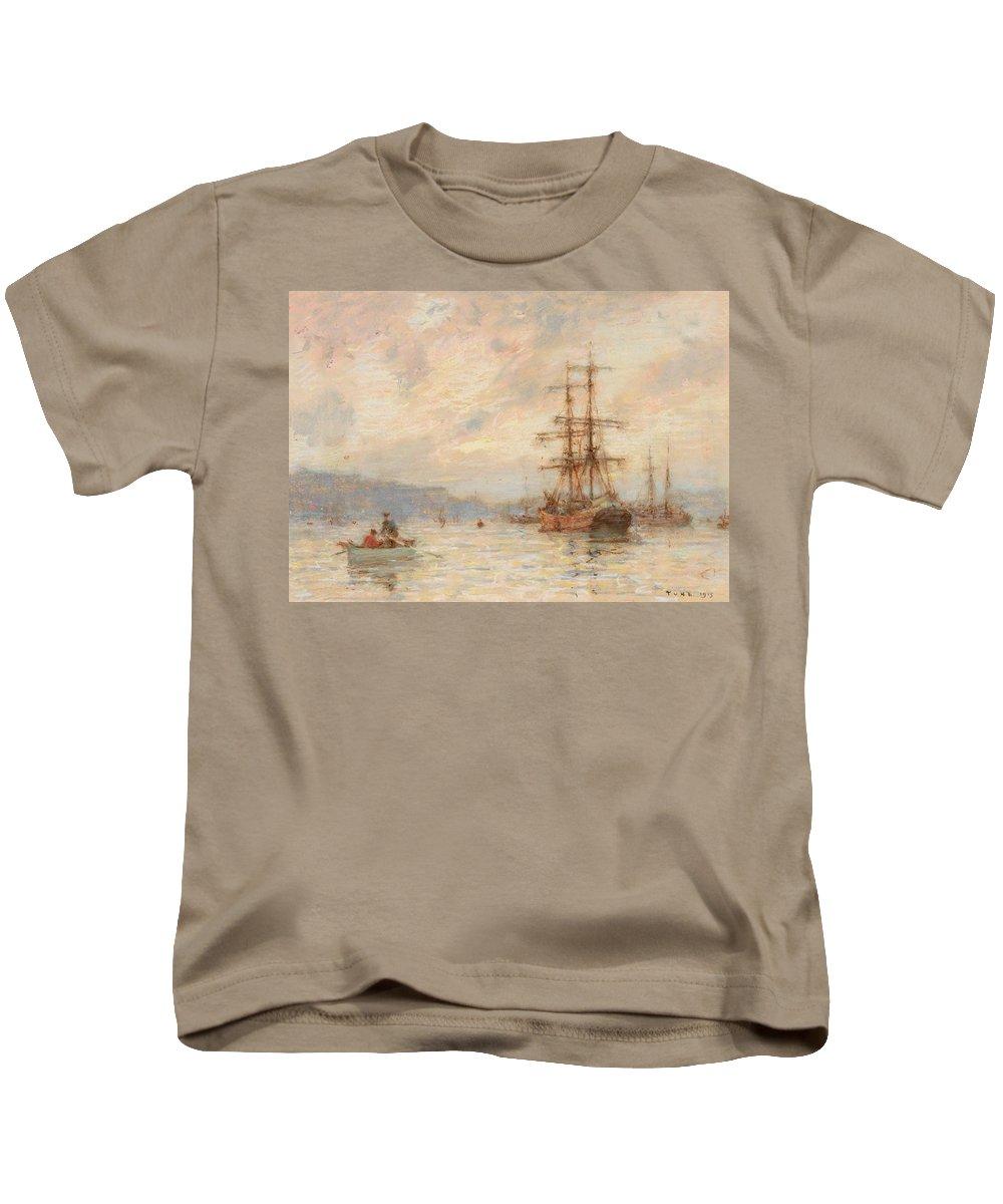 Sea; C19th; C20th; Sailing Ship; Rowing Boat; Boats; Seascape; Shipping; Ships; Masts; Mast; Silhouette; Henry Scott Tuke Kids T-Shirt featuring the painting Sundown by Henry Scott Tuke