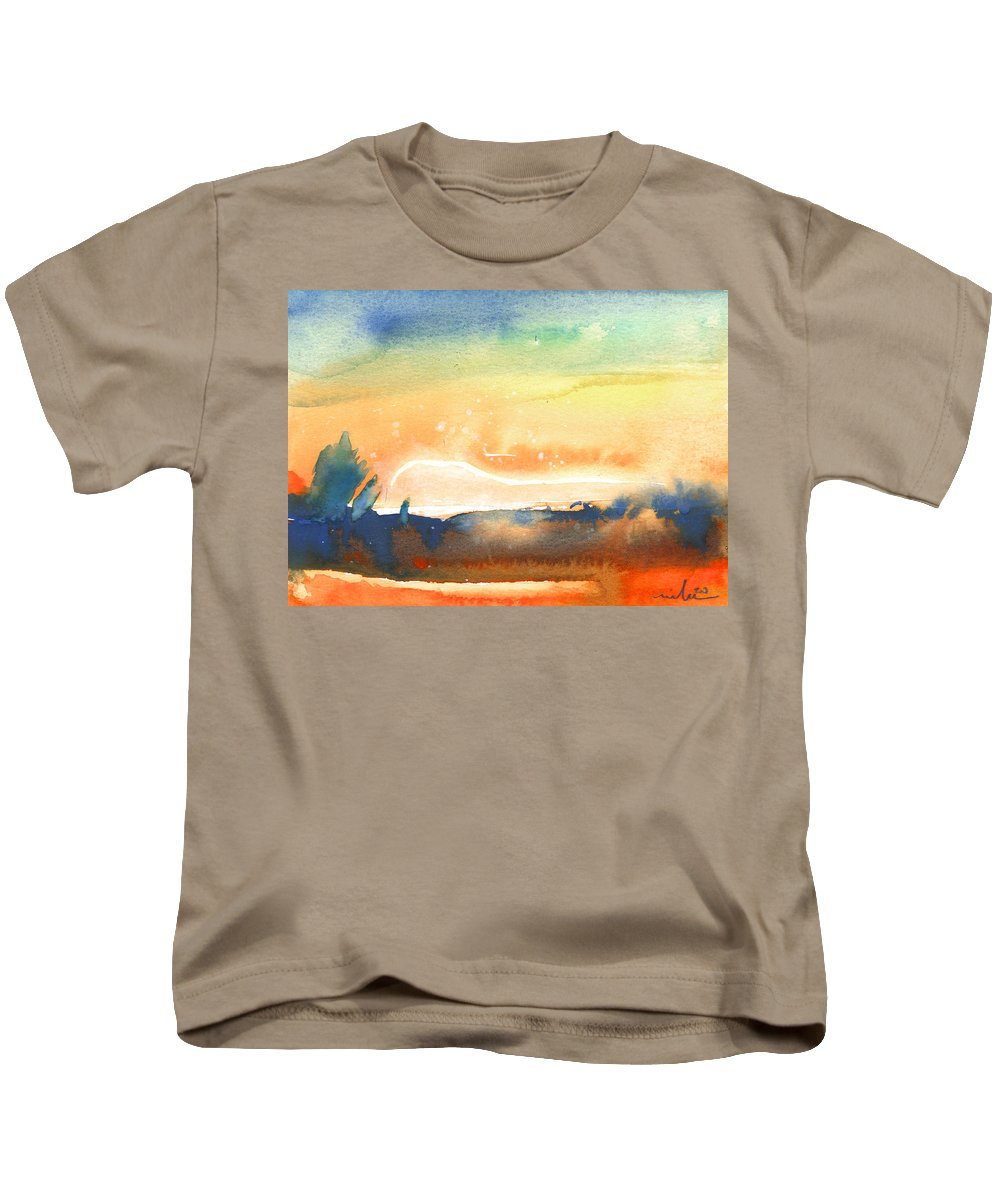 Aquarelle Kids T-Shirt featuring the painting Sunset 39 by Miki De Goodaboom