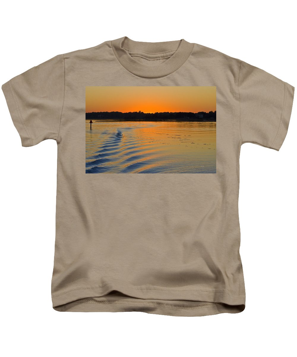 Topsail Kids T-Shirt featuring the photograph Sunset On The Sound by Betsy Knapp