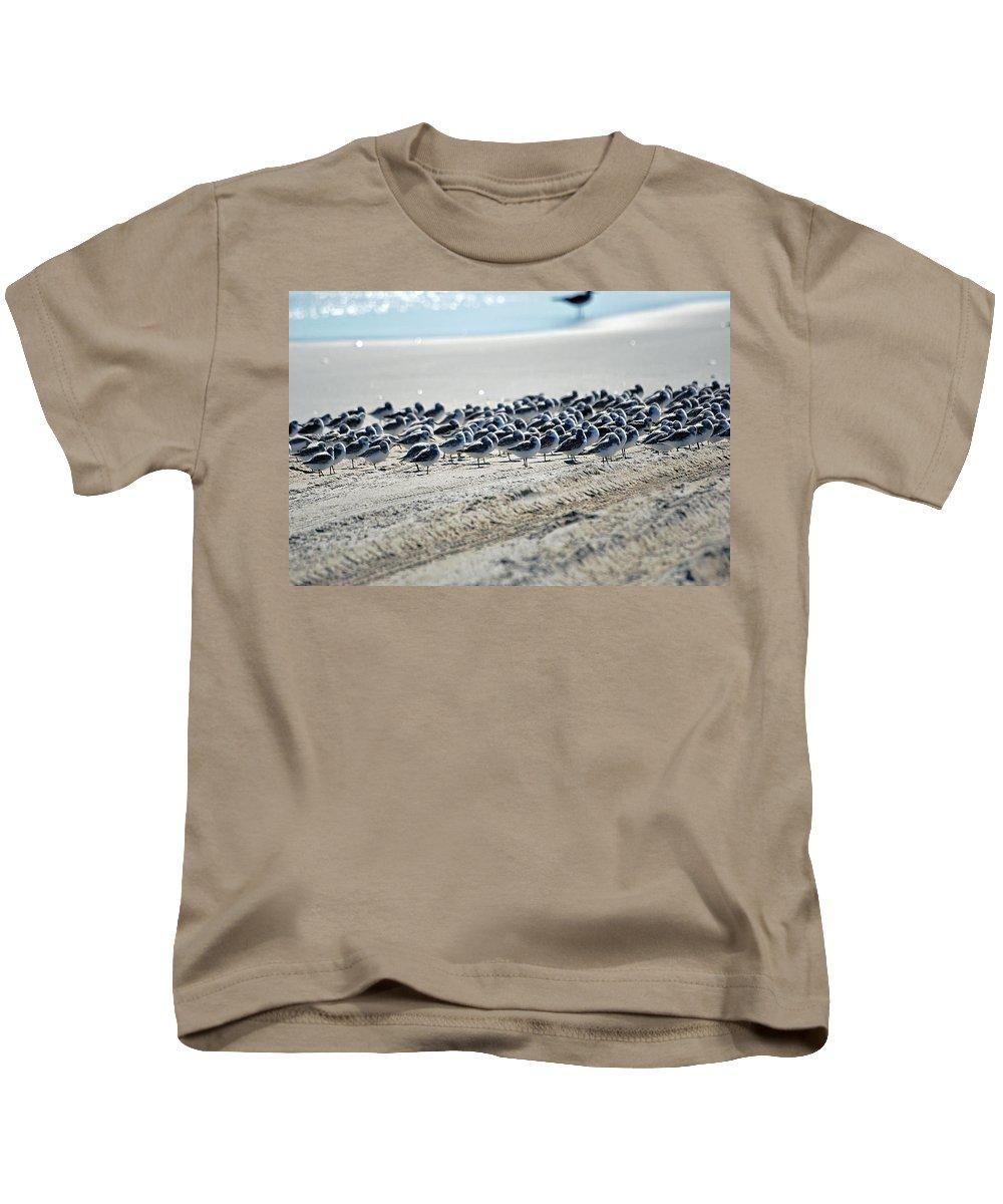 Sandpiper Kids T-Shirt featuring the photograph Taking A Break by Lori Tambakis