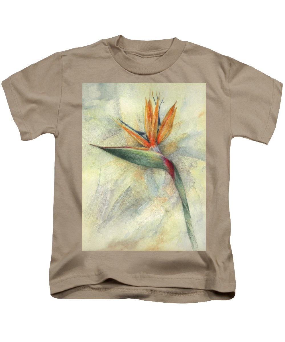 Floral Kids T-Shirt featuring the painting The Queen Of Paradise by Miki De Goodaboom
