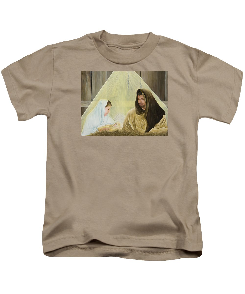 Nativity Paintings Kids T-Shirt featuring the painting The Savior Is Born by Mary Ann King