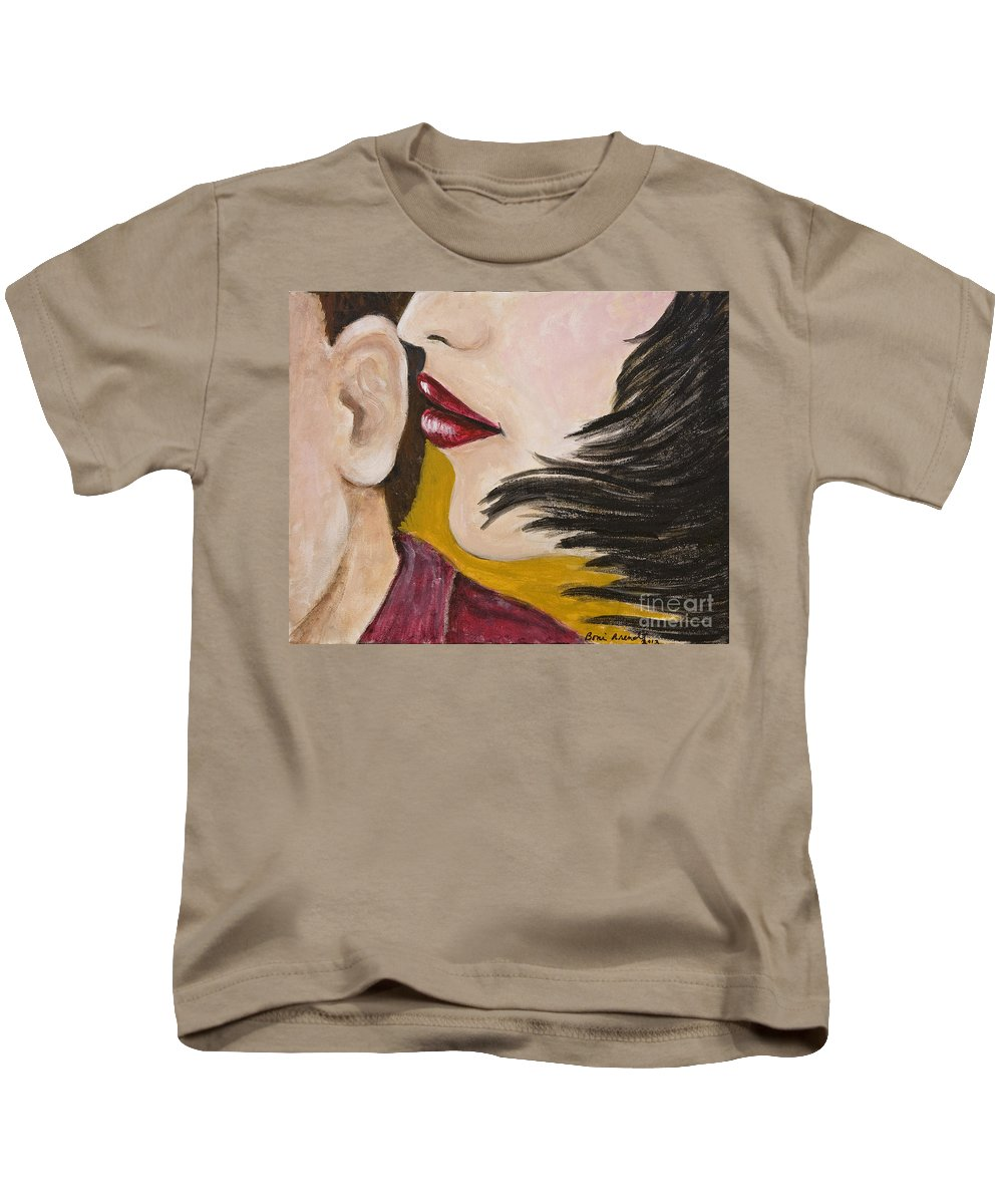 Female Kids T-Shirt featuring the painting The Secret by Boni Arendt