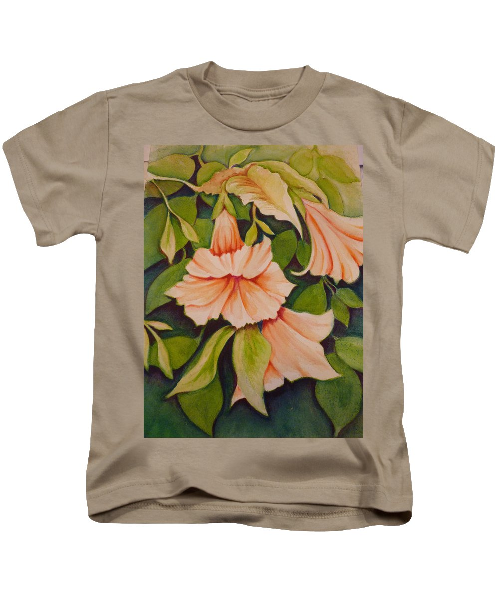 Trumpet Kids T-Shirt featuring the painting Trumpet Flowers by Carla Parris