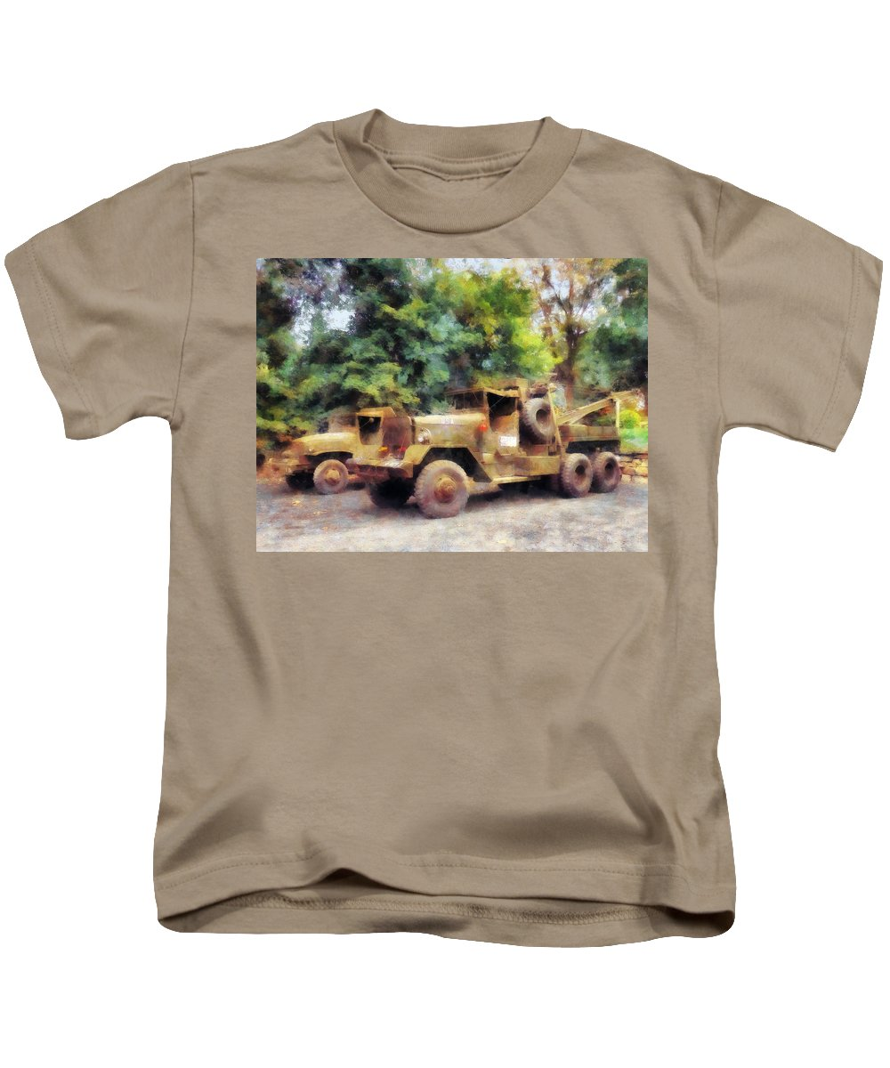 Truck Kids T-Shirt featuring the photograph Two Army Trucks by Susan Savad