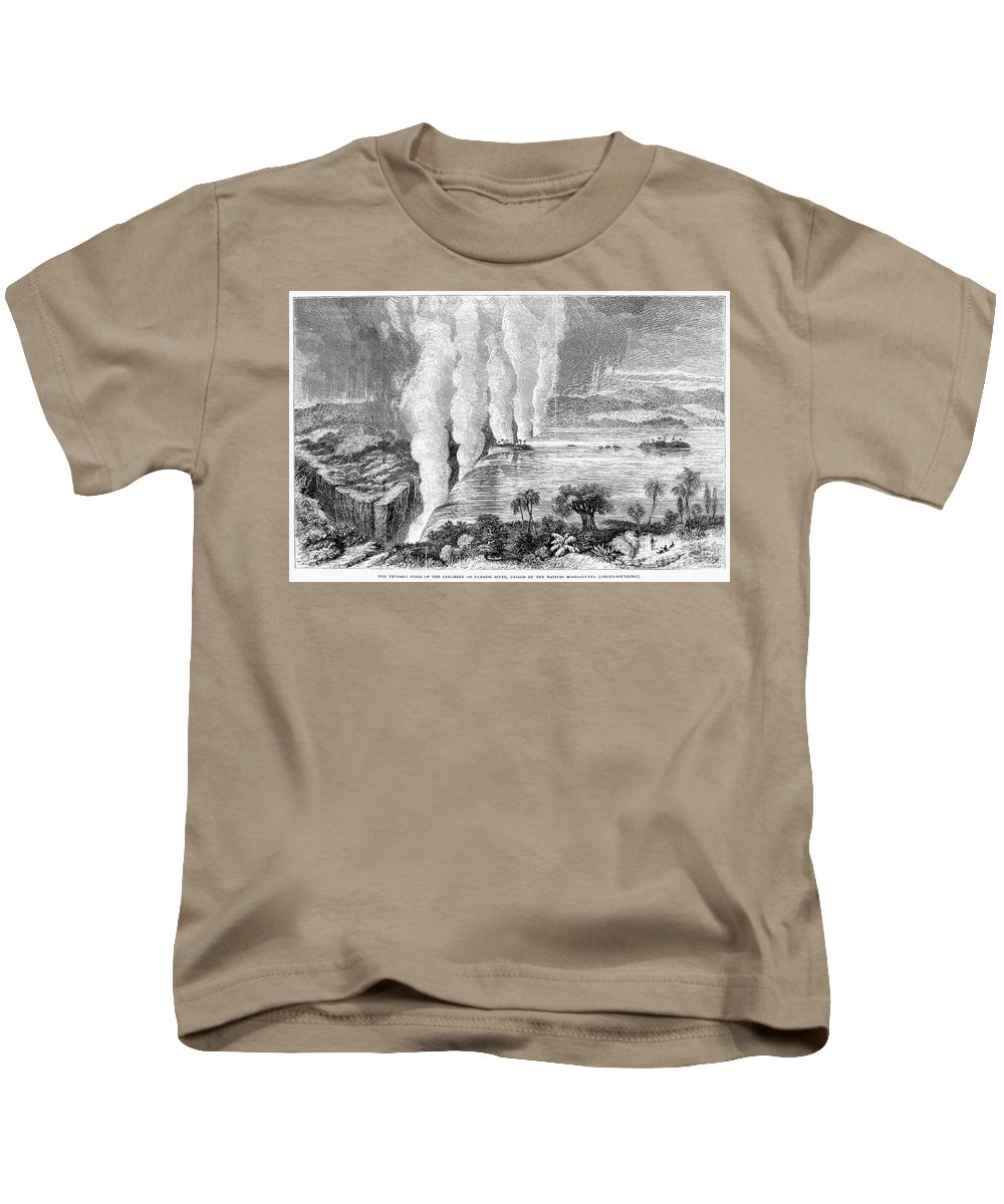 1860 Kids T-Shirt featuring the photograph Victoria Falls, C1860 by Granger