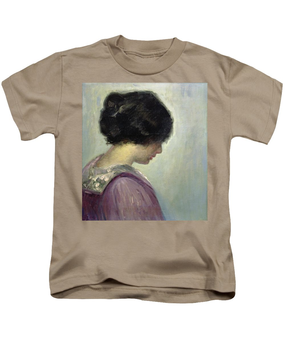 Portrait Of A Lady By Johansen Kids T-Shirt featuring the painting Viggo Johansen by Portrait of a Lady
