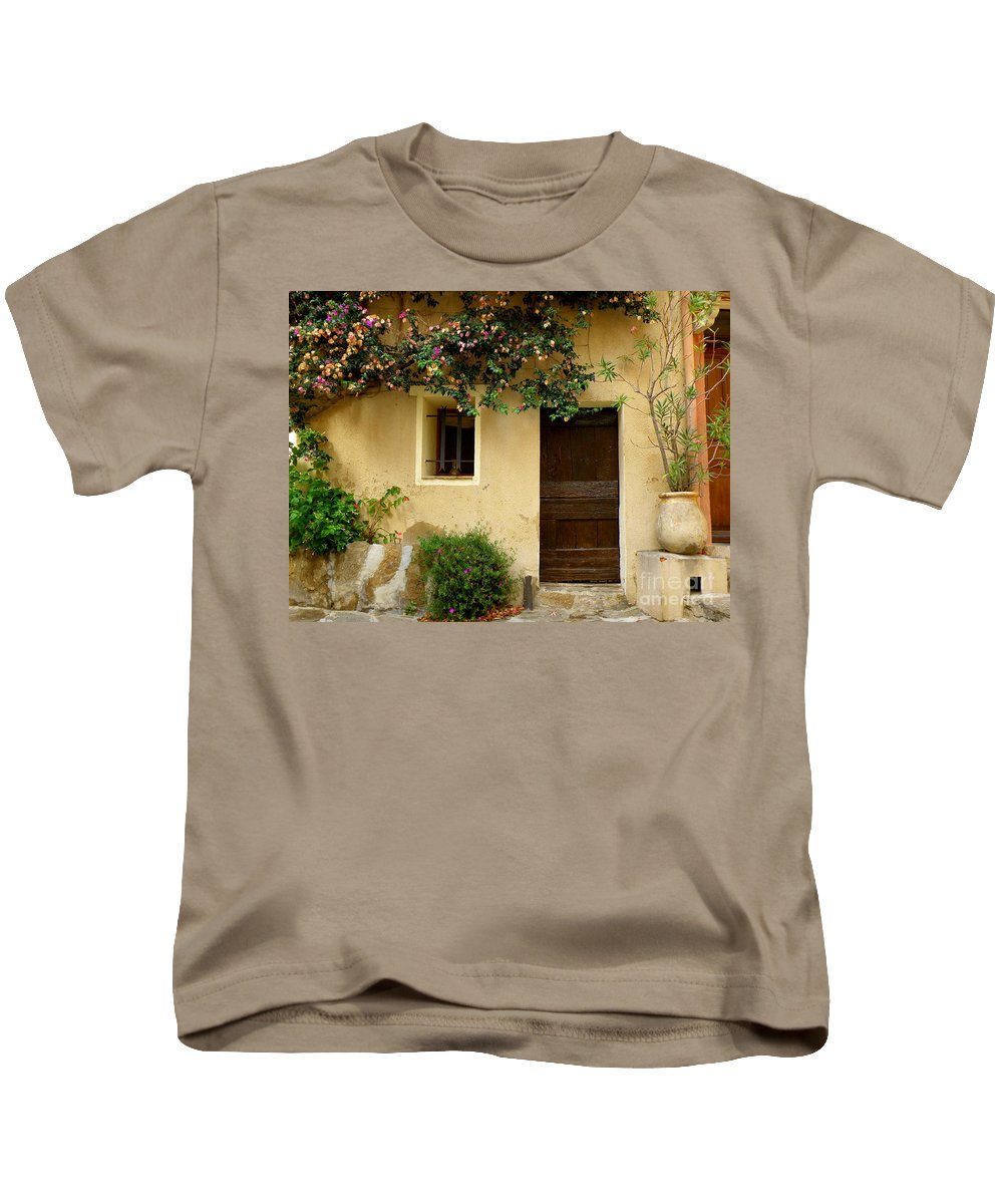 Window And Doors Kids T-Shirt featuring the photograph Village House In Bormes by Lainie Wrightson