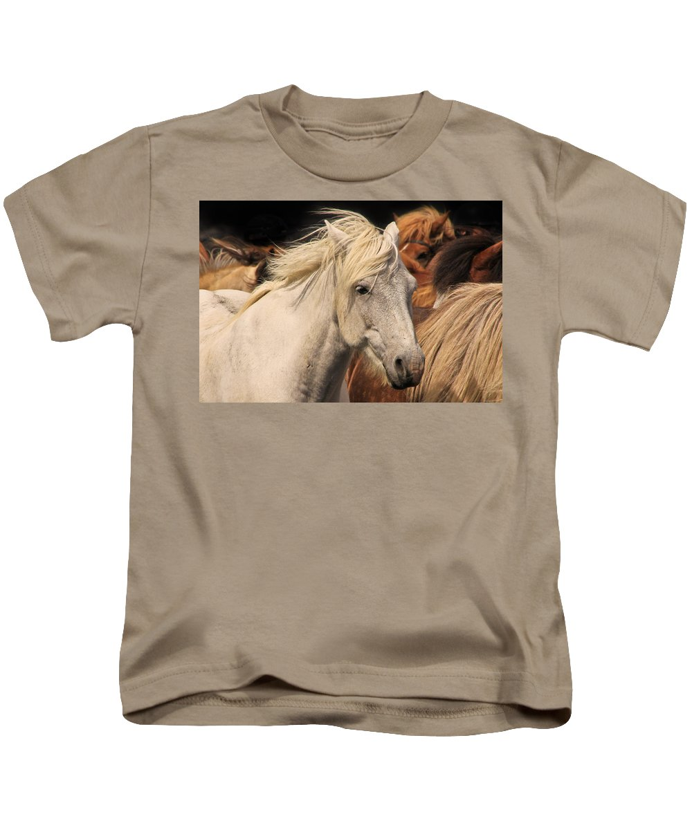 Horse Kids T-Shirt featuring the photograph White Icelandic Horse by Tom and Pat Cory