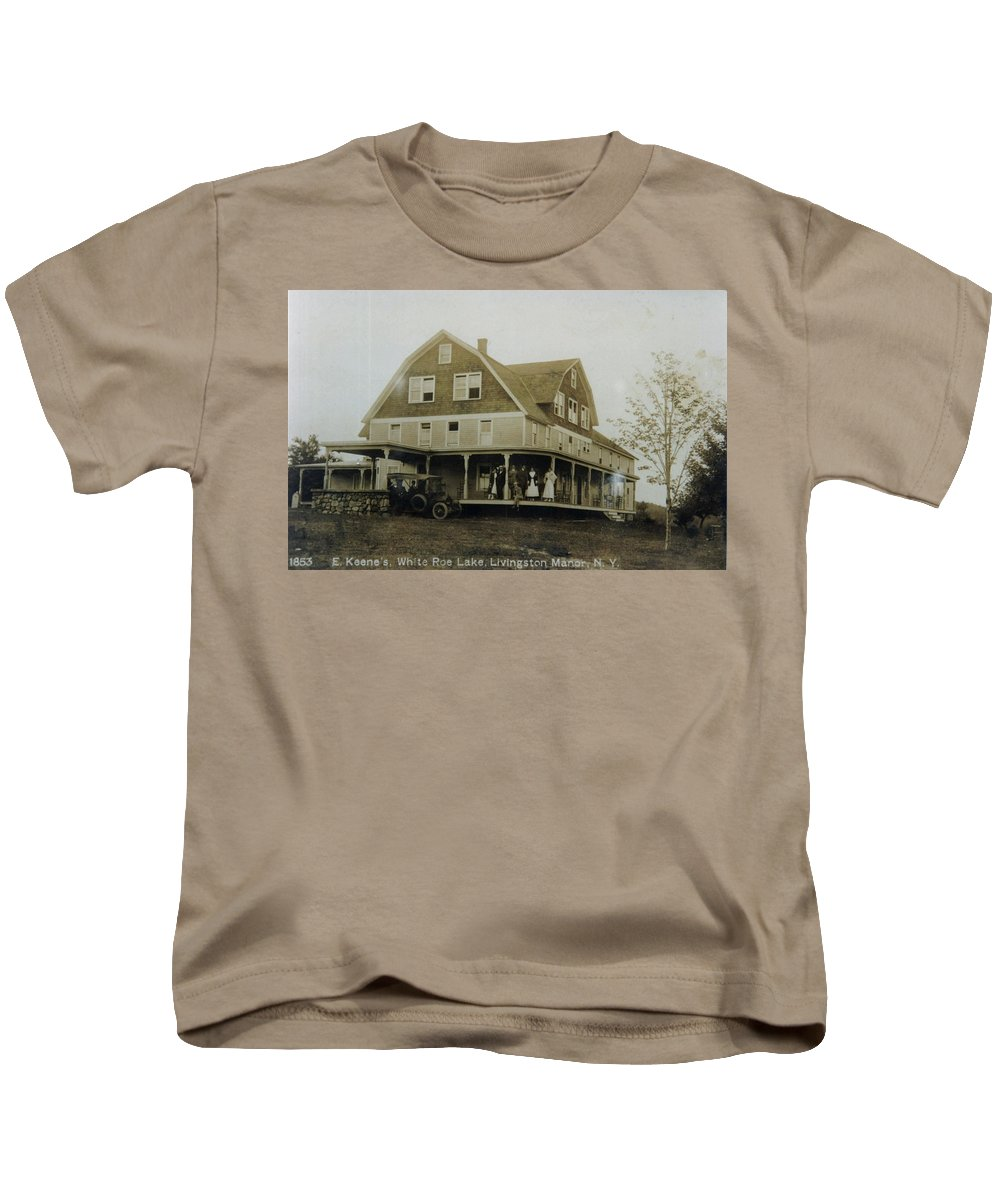 White Roe Kids T-Shirt featuring the photograph White Roe Boarding House-owner E Keene Prior To My Grandfather. Circ 1900s by Ericamaxine Price